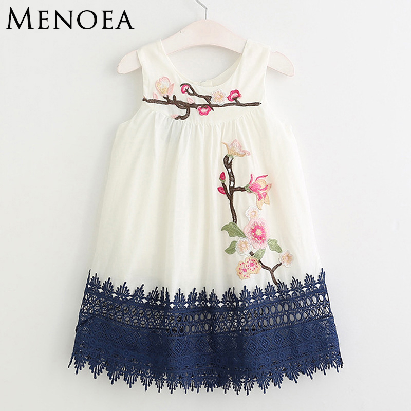 Menoea Girls Dress 2017 New Summer Style Kids Spring  Clothes Embroidery Girls Clothing Children Dress Floral Print