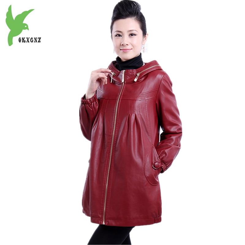 Plus size 6XL Middle-aged Women Leather Jacket Coats Hooded Plus Cotton Warmth PU leather Jackets Autumn Winter Coats OKXGNZ1163