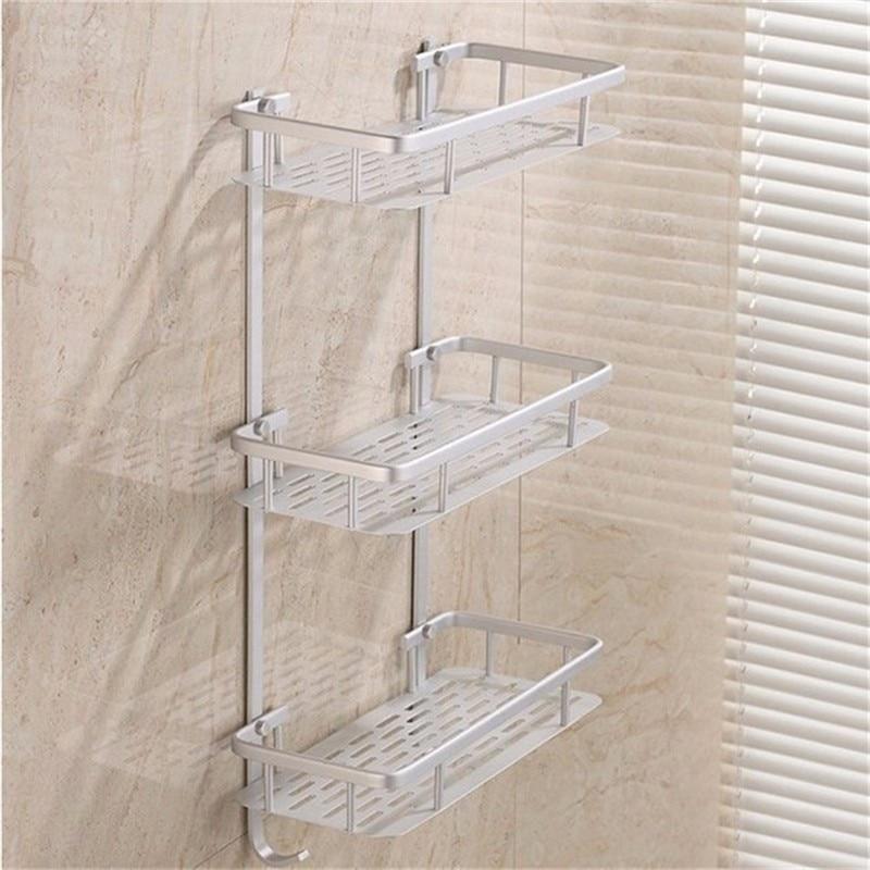Bathroom Shelves Alumimum 3 Tier Home Kitchen Bathroom Shower Storage Shelf Caddy Basket Rack wall mounted Bath Shelves bad kamer rekjes