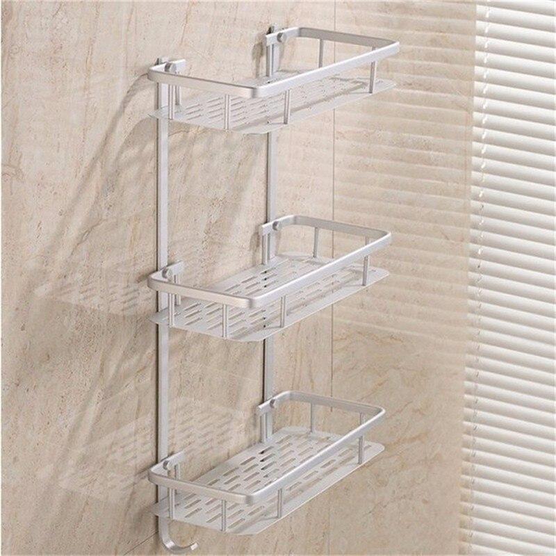 Bathroom Shelves Space Alumimum 123 Tier Home Kitchen Bathroom Shower  Storage Shelf Caddy Basket Rack Wall Mounted Bath Shelve