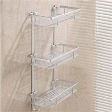 Bathroom Shelves Space Alumimum 1/2/3 Tier Home Kitchen Bathroom Shower Storage Shelf Caddy Basket Rack wall mounted Bath Shelve(China)