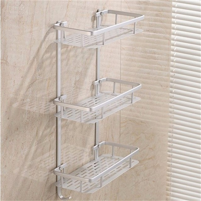 Bathroom Shelves E Alumimum 1 2 3 Tier Home Kitchen Shower Storage Shelf
