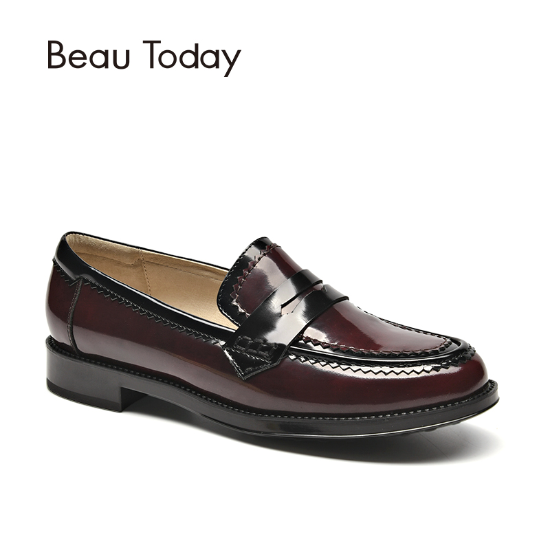 BeauToday Women Moccasin Loafers Genuine Leather Round Toe Slip-On Spring Autumn Female Shoes Handmade 27086 handmade women loafers round toe genuine leather flats female soft moccasin gommino breathable boat shoes chaussure xk052506