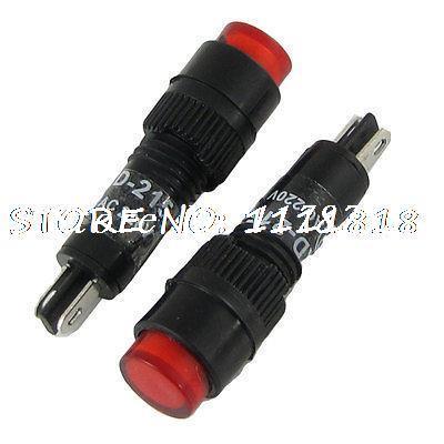 AC 220V 8mm Neon Pilot Light Indicator Lamp Red (Bag of 10)