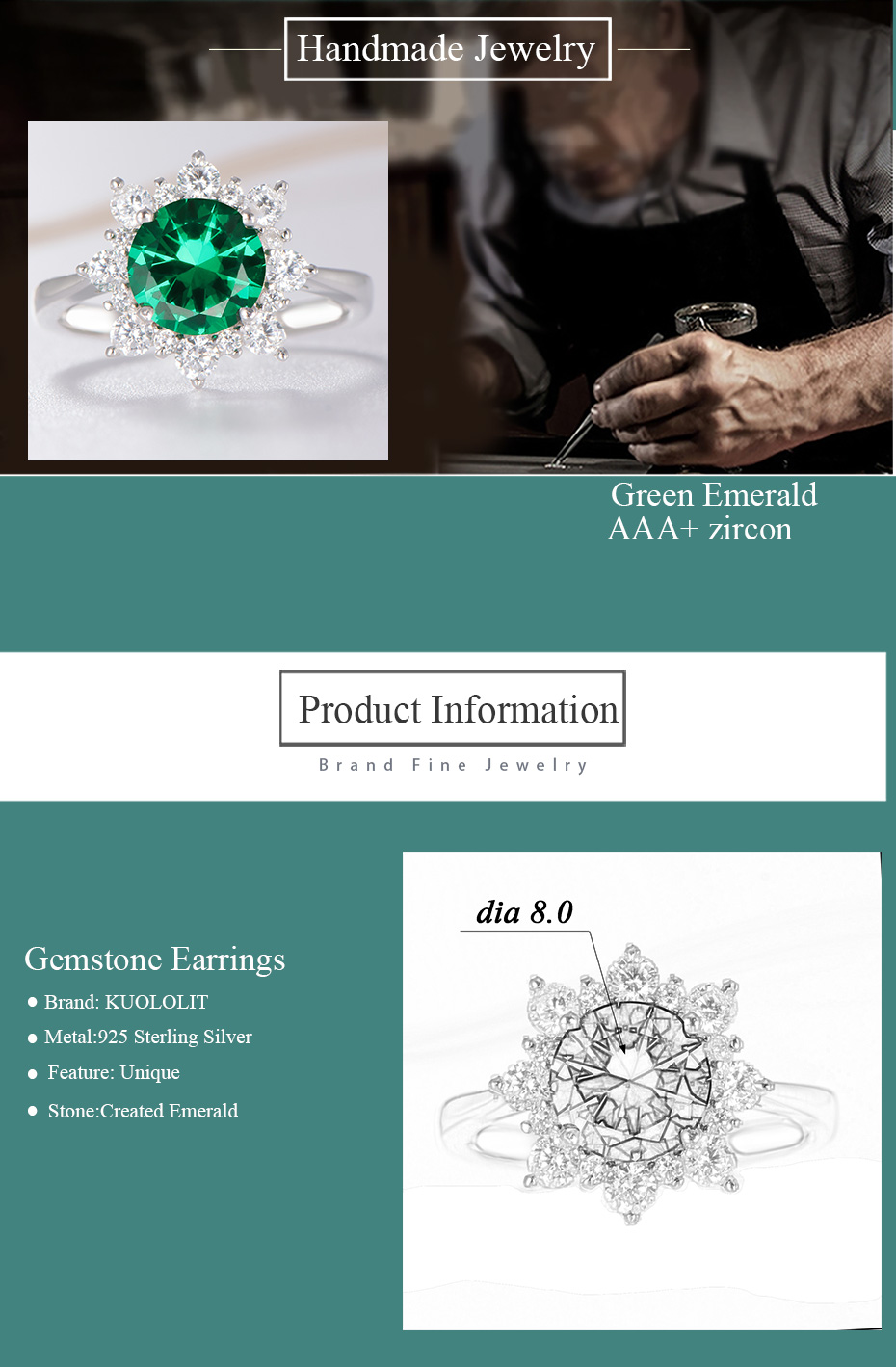 solid 925 sterling silver ring for women emerald rings (9)
