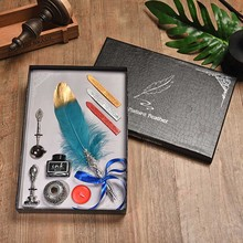 BNB Vintage Feather Pen Personality Dip ink Pen Set Creative Writing Office Supplies Metal Fountain Pen With Gift Box 10 Colors dip water feather fountain pen office pen beautiful vintage metal feather pen personality gift set birthday gift box bib 0 5mm