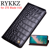 RYKKZ Genuine Leather Flip Case For ZTE Blade V10 Cover Magnetic Case For Blade V10 AXON 10 Pro Cases Leather Cover Phone