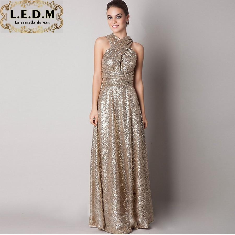 Vestiti cerimonia donna 2019 New Sequind Rose Gold  Champagne Bridesmaid Dresses Maid Of Honor Convertiable Maternity Plus Size