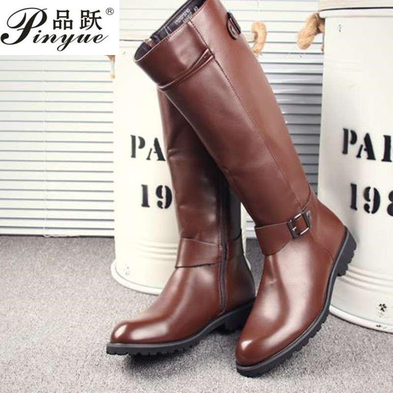 2019 Leather Boots Fur High Top Casual Shoes Men Male Boots over the knee Botas Brand