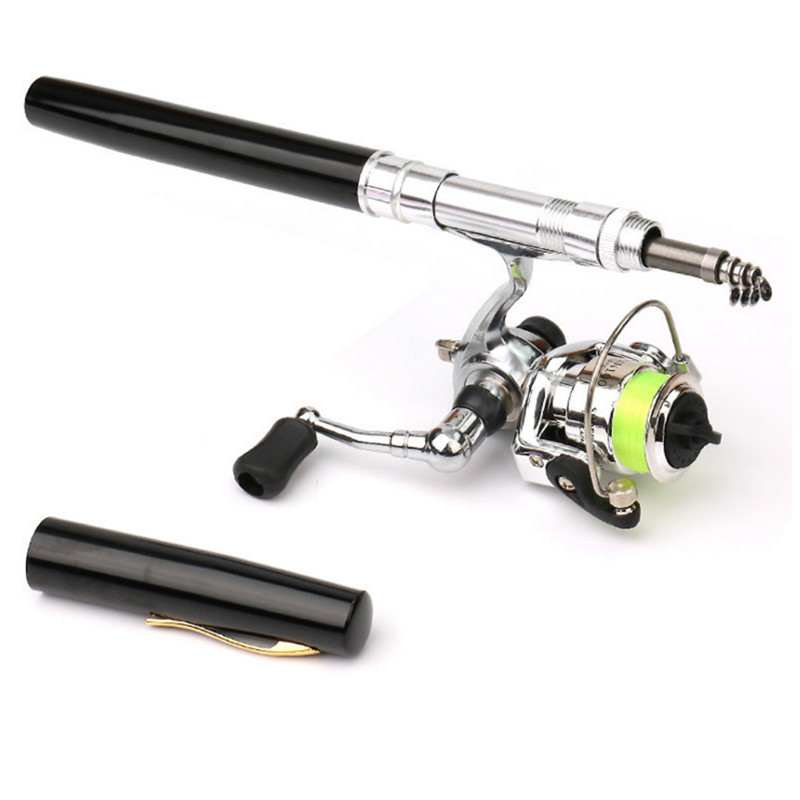 Mini Pocket Pen Shape Aluminum Alloy Fishing Rod Portable Baitcasting Rods Pole + Fishing Reel Set Combos Pesca 2019(China)