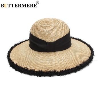 BUTTERMERE Women Sun Hats Beige Casual Straw Hat Female Wide Brim Anti-UV Ladies Summer Travel Sombreros Beach Caps Fashion 2018