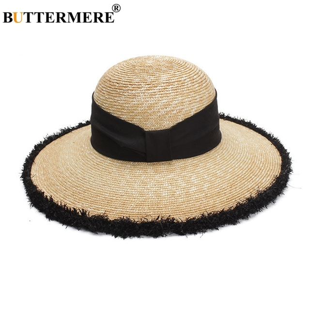 BUTTERMERE Women Sun Hats Beige Casual Straw Hat Female Wide Brim Anti-UV Ladies Summer Travel Sombreros Beach Caps Fashion 2018