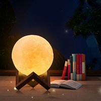 Cool gift smart light, round touch night light, 3D print chargeable smart touch lamp for night, dimmable LED light, Size d10cm