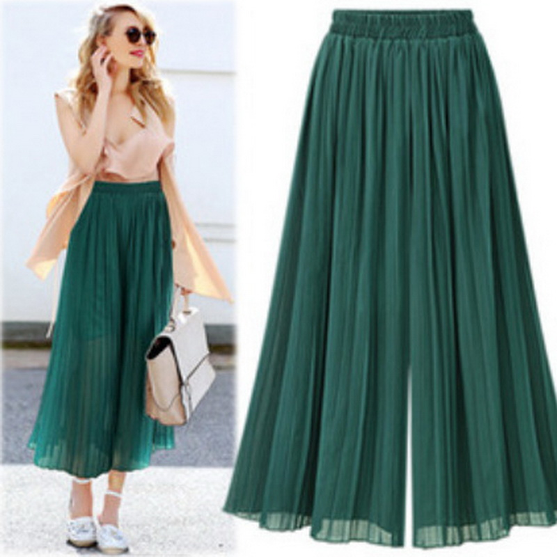 Fashion Women's Ladies Summer Mesh Chiffon High Waist Skirt Loose Casual Skirt Solid Color Folding Large Trousers Skirt