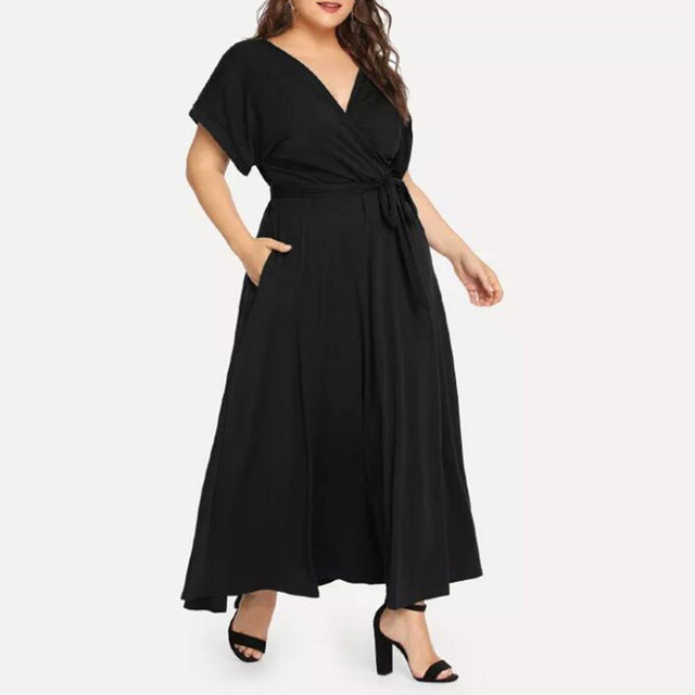 Summer Loose Comfort Large Size Women's Solid Maxi Dress Short Sleeve V-neck Strap Elegant Long Evening Party Dresses Plus Size