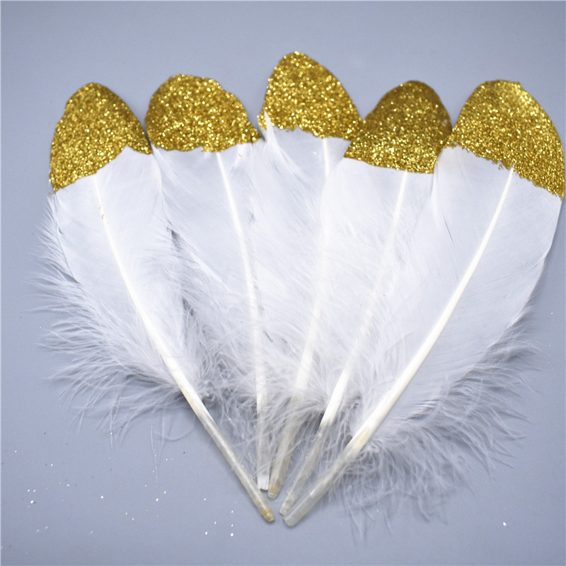 2018 Hot Sale Glitter Gold silver Dipped Natural White Duck Goose Feathers Decor Feathers for crafts Wedding Decoration plume