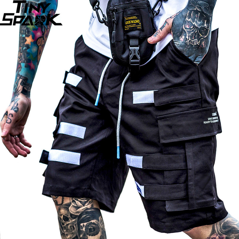 2019 Harajuku Cargo   Shorts   Pocket Men Hip Hop   Short   Joggers Streetwear Fashion Tatical Military   Short   Baggy Casual Black Hipster