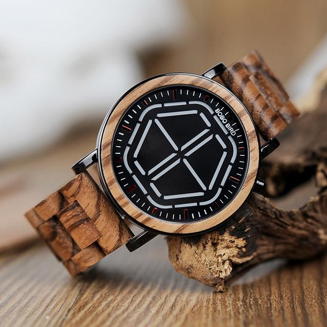BOBO BIRD Wooden Handmade Men Digital Watch with Gift Box