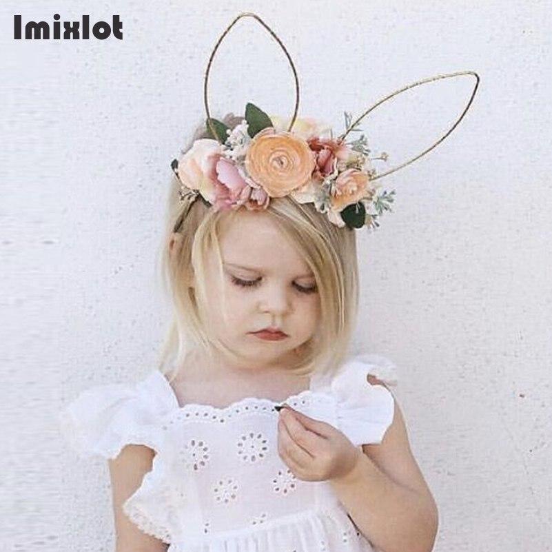 Imixlot 4 Colors Fabric Flower Headband Bunny Lace Rabbit Ears Headbands For Women Floral Crown Hair Accessories Girls Headwear