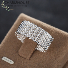 Wedding Bands 925 Silver Rings For Women Mesh Round Finger Ring Bague Anillos Bridal Jewelry Accessories Party Gift Size 6 7 8 9