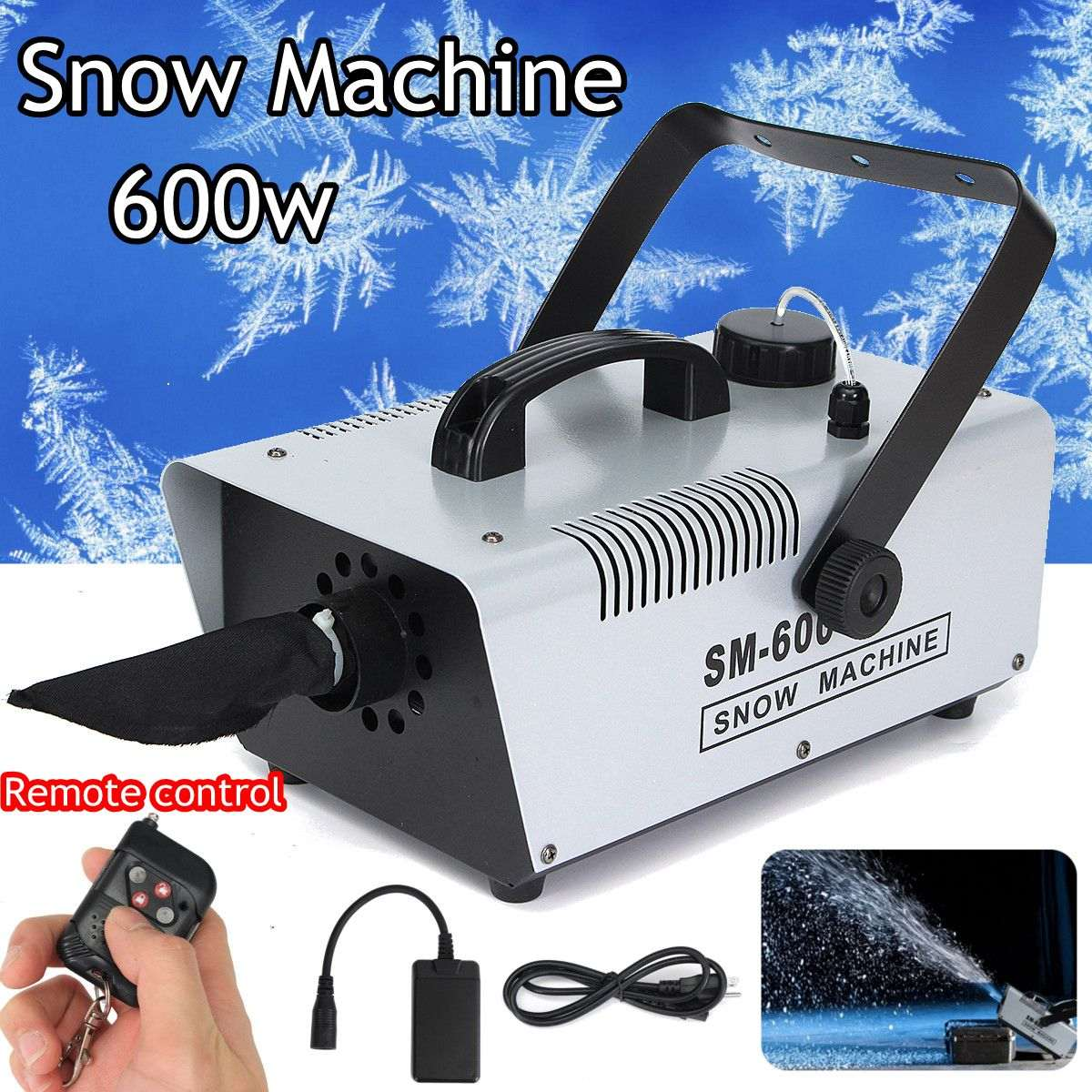 Remoter + Wire Control 600W Snow Machine Wedding Snow Machines Professional DJ Equipment 100% New
