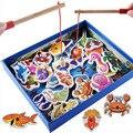 Conjunto de Brinquedos de Pesca De madeira Ímã Brinquedo Sea World Peixe E Vara De Pesca Crianças Praticando Para A Criança