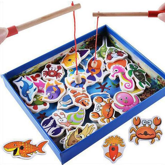 Juguetes de madera de Pesca Imán Conjunto de Pescado Y caña de Pescar Niños Practicando Juguete Mar Mundo Para El Niño