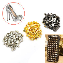 100 Pcs/lot Gold Silver Sew on Spike Rivet Studs Nail Punk Rock For Bags Dress Clothes DIY Bead Crafts Riveting Garment Wedding(China)