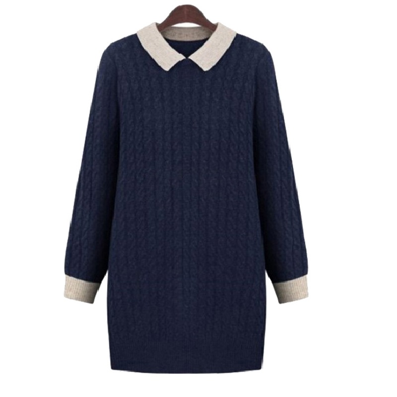 New Spring Autumn Women Sweaters Vestido Plus Size MD Long Style Contrast color Turn Down Collar