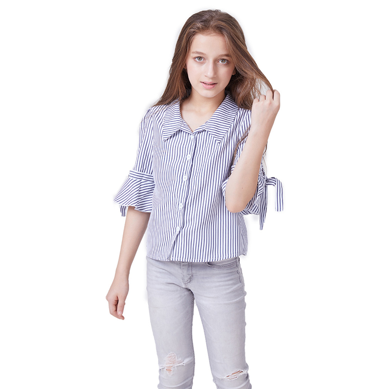 Girl Stripe Blouse with Bow Decoration Half Sleeve Casual Shirt  2019 Summer Teenage Girls Clothing 6 8 10 12 yearsGirl Stripe Blouse with Bow Decoration Half Sleeve Casual Shirt  2019 Summer Teenage Girls Clothing 6 8 10 12 years