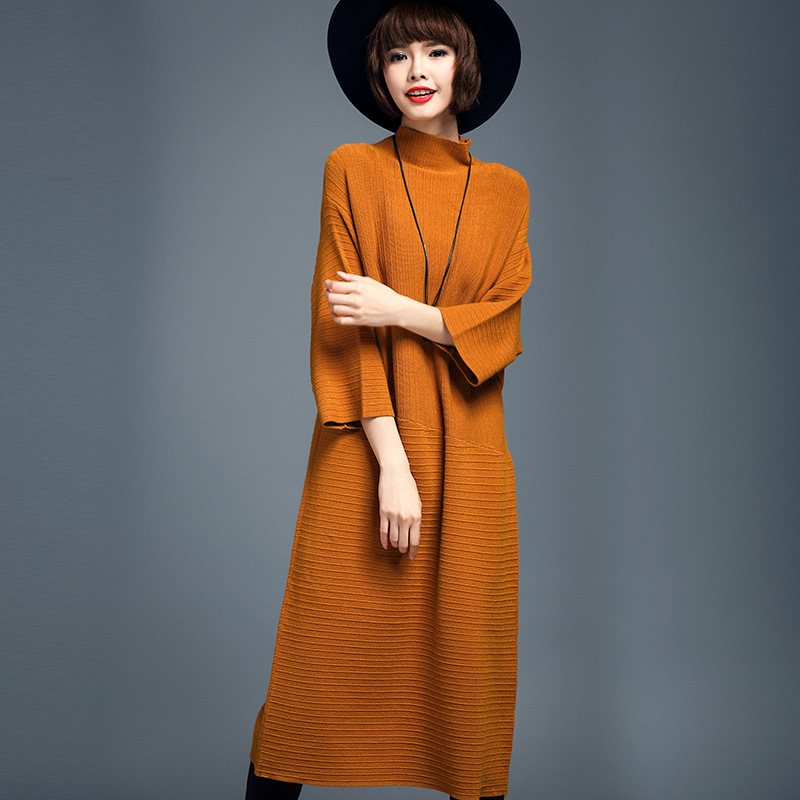 Autumn Women Turtleneck Sweater Dress Wool Blended Pure Color Three Quarter Sleeve Turtleneck Render Knitted Dress Sweater Dress women turtleneck front pocket sweater dress