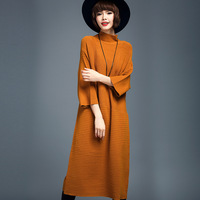 Women Loose Turtleneck Sweater Dress Wool Blended Pure Color Three Quarter Sleeve Render Knitted Dress Sweater Dress
