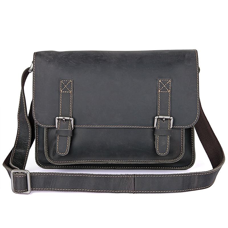J.M.D High Quality Vintage Crazy Horse Leather Cross Body Messenger Bag Fashion Shoulder Bag Tiny Men's Flap Bag 7089J-1