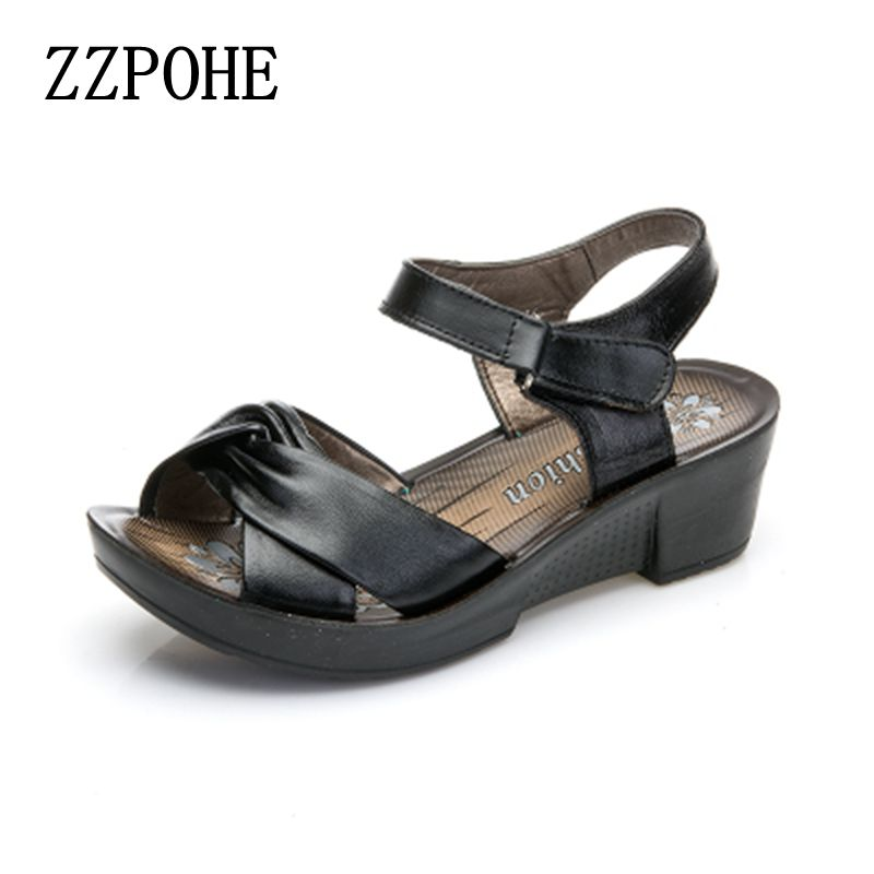 ZZPOHE New mother quality sandals leather slope middle-aged ladies large size sandals casual comfortable woman black sandals