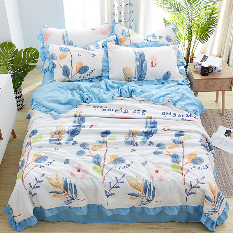 Couette d'été couvre lit matelas fleur linge de lit 4 pièces/ensemble housse de couette ensemble pastorale drap taie d'oreiller King Size