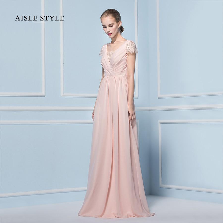 Aisle Style Boho Bridesmaid Dresses Long Blush Short Lace Sleeved ...