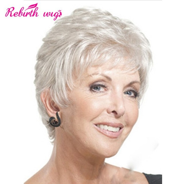 Fashion American Old Women Synthetic wigs silver hair Wigs Short Straight  grey Wigs With Bangs full elderly lady cosplay wigs d2035b058b