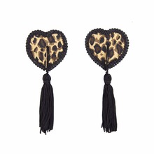 Women Leopard Nipple Cover Sexy Pasties Reusable Tepel Heart Shape Breast Tape Tassel