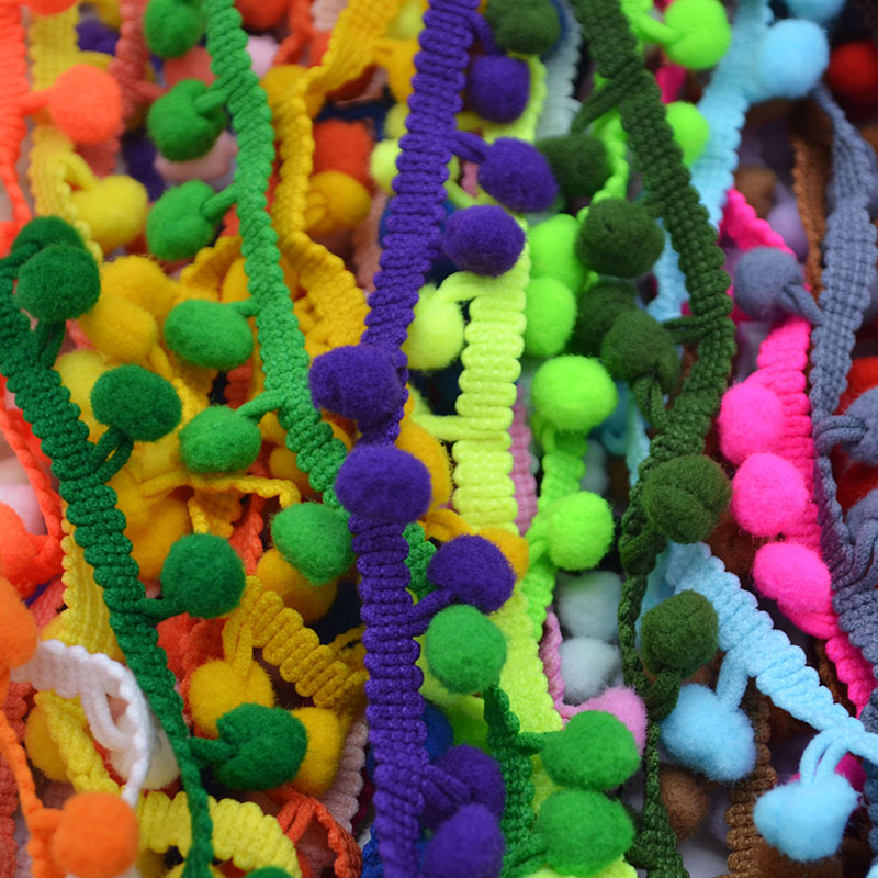 5 Yards 1cm Colorful Pom Pom Lace Trim Ball Tassel Ribbon Handmade Fringe Sewing Fabric DIY Craft Sewing Accessary Lace 5Z