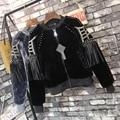 [TWOTWINSTYLE] 2017 Winter Rivet Tassels Long Sleeved Loose Coats Thick Plush Bomber Jacket Women Basic Coat New Fashion