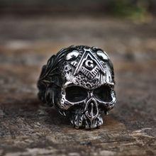 Vintage Vine Free-Mason Masonic Skull Rings Men  Freemasons Biker 316L Stainless Steel Ring