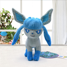 цены на 17cm Glacia Kawaii Anime Pet Soft Cartoon Plush Toys Stuffed Animal Doll Standing Glaceon Children Baby Gift Free Shipping  в интернет-магазинах