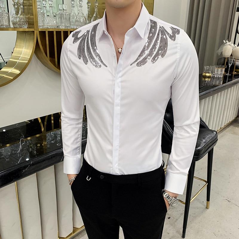 Sequin Decoration Shirt Male Long Sleeve Mens Shirts Autumn Streetwear Casual Slim Fit Camisa Social Masculina Camisa Masculina