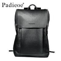 Padieoe Новинка 2017 года Дизайн модные Повседневное унисекс рюкзак высокое качество Пояса из натуральной кожи однотонные черные школьный рюкза