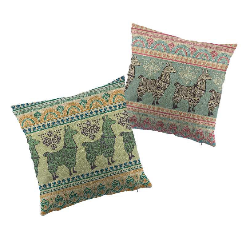 The alpaca Pattern Printed linen Cushion Cover Green Pink Doggy With Headphone Design Pillow Case