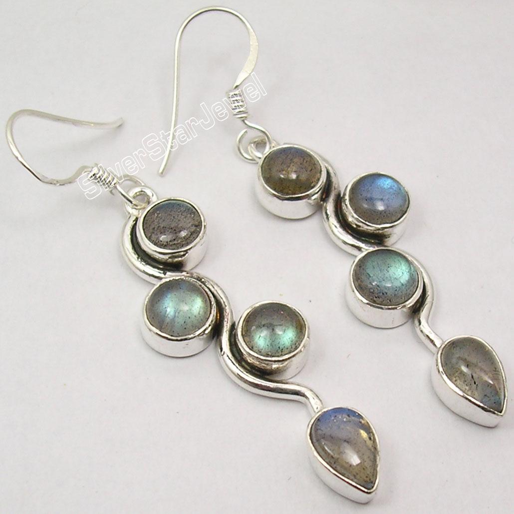 Chanti International Pure Silver Original BLUE FIRE LABRADORITE 4 Gemset GORGEOUS Earrings 5 2 CM