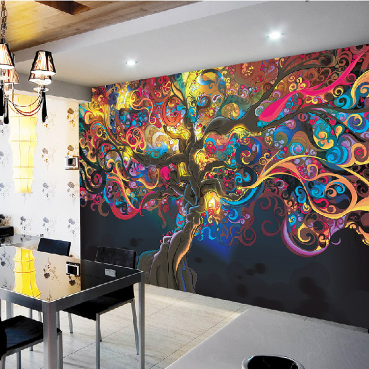 Pics for psychedelic tree wallpaper for Mural art designs for bedroom