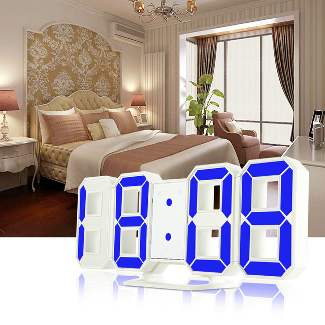 3D LED Digital Wall Clocks 24/12 Hours Display 3 Brightness Levels Dimmable Nightlight Snooze Function for Home Kitchen Office