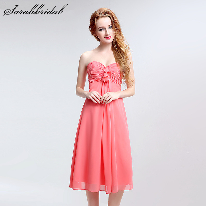 Simple Coral Chiffon Short   Bridesmaid     Dresses   Pleated Sweetheart Sleeveless A-line Party Gown Vestido De Festa LSX121