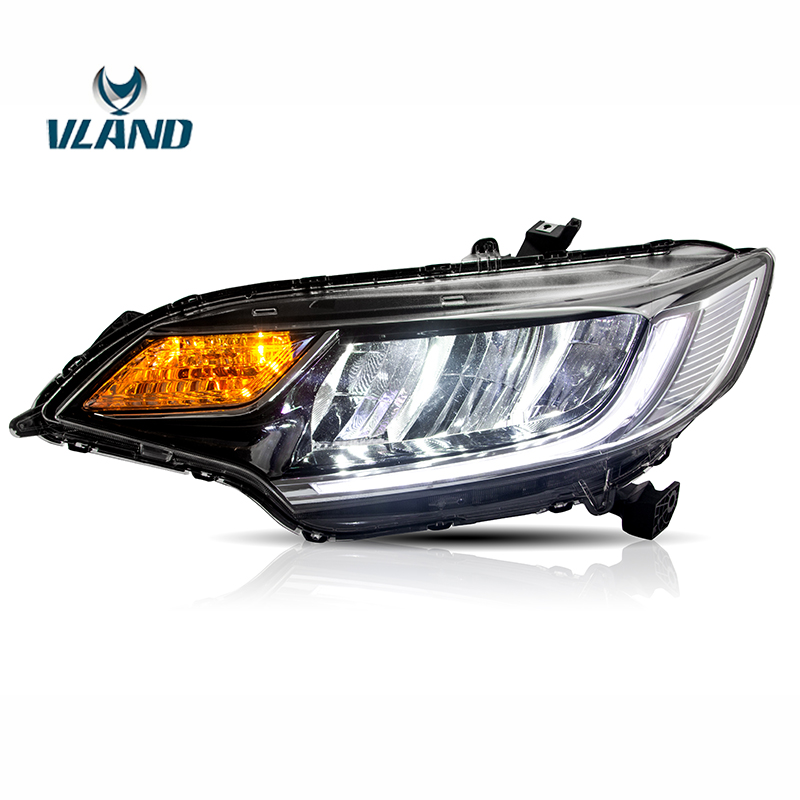 Vland Factory Car Accessories Head Lamp for Honda Fit <font><b>Jazz</b></font> <font><b>GK5</b></font> 2014-2018 Head Light with Daytime Running Light image